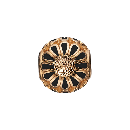Black Marguerite Bead Charm Gold and Black