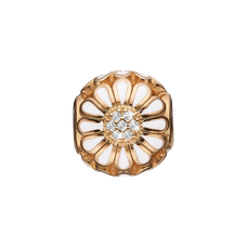 Load image into Gallery viewer, Topaz Marguerite Bead Charm Gold and White with Gemstones