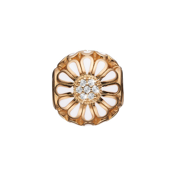 Topaz Marguerite Bead Charm Gold and White with Gemstones