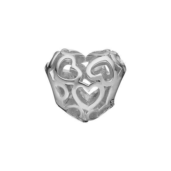 Heart Beat Love Bead Charm Silver