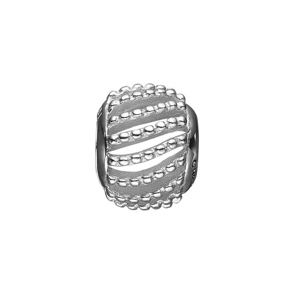 Dotted Line Bead Charm Silver