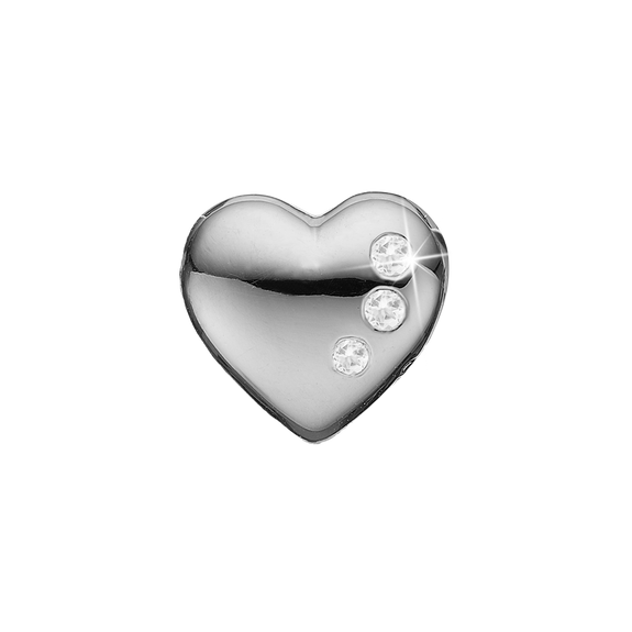 Petite Secret Hearts Bead Charm Silver with Gemstones