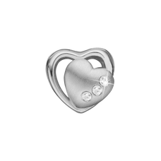 Load image into Gallery viewer, Petite 2 Hearts Bead Charm Silver with Gemstones