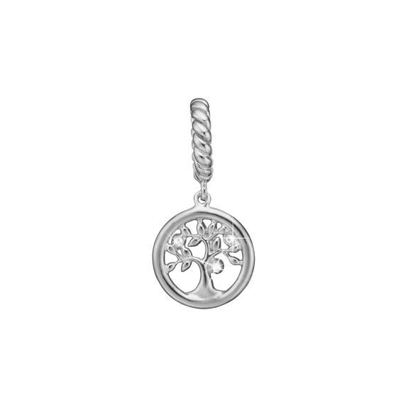Topaz Tree of Life Hanging Charm Silver with Gemstones