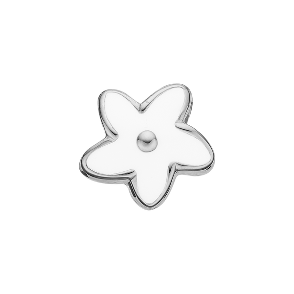 Flower Heaven Bead Charm Silver and White