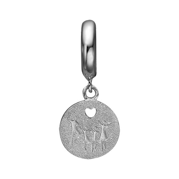 Being a family means you are a part of something very wonderful. It means you will love and be loved for the rest of your life. The Happy Family charm is beautifully designed with a carved heart, showing the word FAMILY on the polished side and a set of parents and children on the other side and is expertly handcrafted in 925 Sterling Silver and finished with an 18ct Gold or Rhodium Plating.