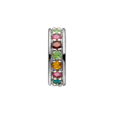 Load image into Gallery viewer, Remind yourself and be proud of your various life goals and ambitions with the Multi Coloured Rainbow of Gemstones that adorn Christina Life Goals charm. All the charms in our collection are handcrafted in 925 Sterling Silver and finished with an 18ct Gold Plating and this charm is further embellished with multiple Genuine Rhodolite, Madeira Citrin, Peridot, Garnet, Swiss Blue Topaz, Citrin, London Blue Topaz Stones