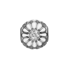 Load image into Gallery viewer, Topaz Marguerite Bead Charm Silver and White with Gemstones