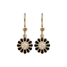 Load image into Gallery viewer, Black Marguerite Hanging Earrings Gold and Black with Gemstones