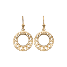 Load image into Gallery viewer, Circles of Happiness Hanging Earrings Gold