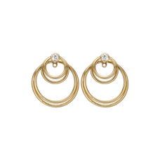 Load image into Gallery viewer, Circles of Joy Hanging Earrings Gold with Gemstones