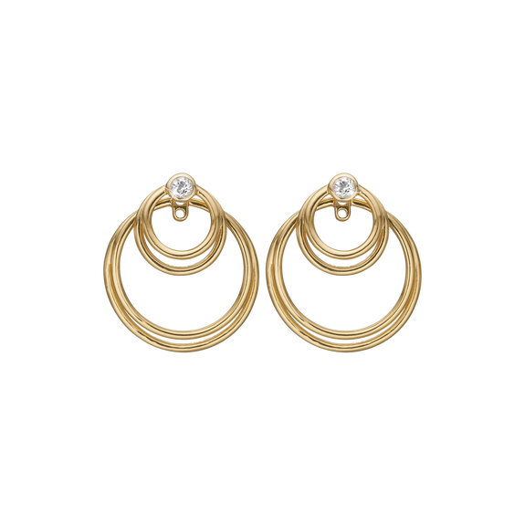 Circles of Joy Hanging Earrings Gold with Gemstones