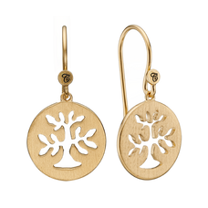 Load image into Gallery viewer, In mythologies, legends and novels Trees represent life & growth while at the same time considered representative of life, wisdom, power and prosperity.  These Plant a Tree earrings are handcrafted in Sterling Silver and finished with an 18ct Gold Plating are designed to incorporate these noble sentiments.