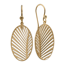 Load image into Gallery viewer, Celebrate your unique awesomeness and positive energy with this beautifully designed earrings in the shape of a Palm Leaf that across eons and cultures has symbolised victory with integrity.  For that special touch all the pieces in our Jewellery Collection are delicately handcrafted in 925 Sterling Silver and finished with an 18ct Gold Plating.