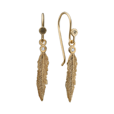 Load image into Gallery viewer, The Feather Symphony Earrings catch the Autumn feeling that only comes during this magical time of the year as the leaves detach from the tree and float and swing in the breeze.  For that special touch and to make our Earring Collection even more special, all the earrings in our collection are delicately and expertly handcrafted in 925 Sterling Silver and finished with 18ct Gold Plating.