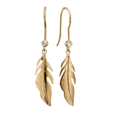 Load image into Gallery viewer, Whenever you think of Nature you thoughts are drawn to green leafy trees. The Leafs that flutter in the breeze with the feeling of freedom that only nature can provide.  For that special touch and to make our Earring Collection even more special, all the earrings in our collection are delicately and expertly handcrafted in 925 Sterling Silver and finished with 18ct Gold Plating.