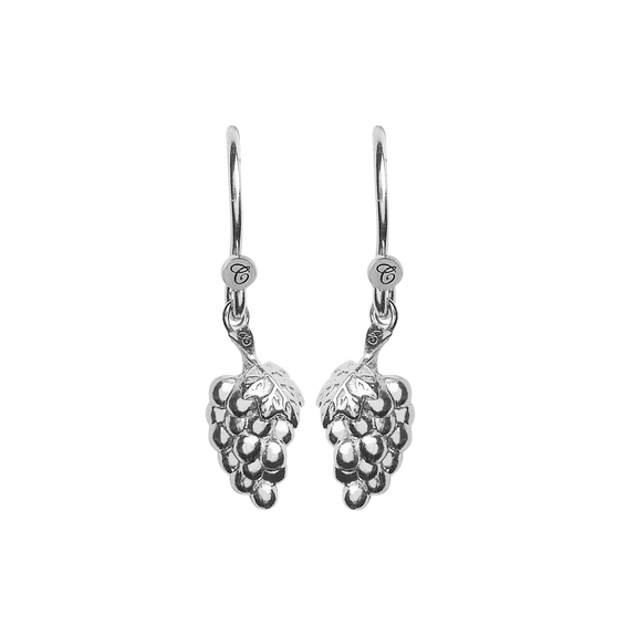 Grapes Hanging Earrings Silver