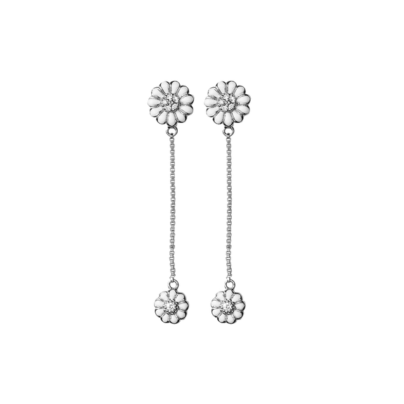 Flying Marguerites Hanging Earrings Silver