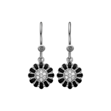 Load image into Gallery viewer, Black Marguerite Hanging Earrings Silver and Black with Gemstones