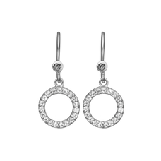 Load image into Gallery viewer, Hanging Circle Hanging Earrings Silver with Gemstones
