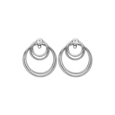 Load image into Gallery viewer, Circles of Joy Hanging Earrings Silver with Gemstones