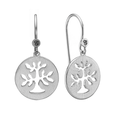 Load image into Gallery viewer, In mythologies, legends and novels Trees represent life & growth while at the same time considered representative of life, wisdom, power and prosperity.  These Plant a Tree earrings are handcrafted in Sterling Silver and finished with a Rhodium Plating are designed to incorporate these noble sentiments.