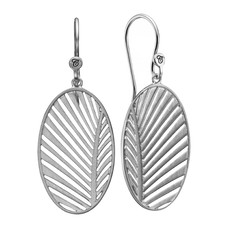 Load image into Gallery viewer, Celebrate your unique awesomeness and positive energy with this beautifully designed earrings in the shape of a Palm Leaf that across eons and cultures has symbolised victory with integrity.  For that special touch all the pieces in our Jewellery Collection are delicately handcrafted in 925 Sterling Silver and finished with Rhodium Plating.