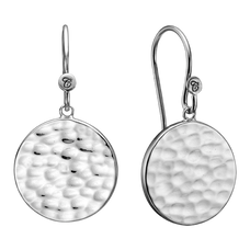 Load image into Gallery viewer, Nothing expresses the feeling of peaceful existence than the humble but yet simple grace of the Moon and its Lunar scape, glimmering from the reflection of the natural light.  These beautifully handcrafted earrings incorporate all that sentiment and will glisten in the sunlight just like the Moon.   For that special touch and to make your ring a bit more special all the rings in our collection are delicately and expertly handcrafted in 925 Sterling Silver and finished with a Rhodium Plating.
