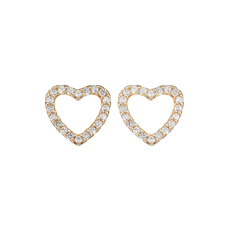 Load image into Gallery viewer, Dazzling Hearts Studs Gold with Gemstones