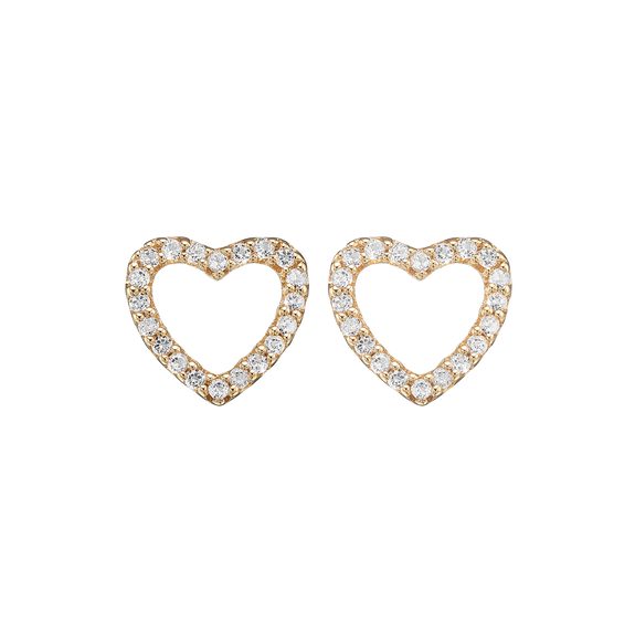 Dazzling Hearts Studs Gold with Gemstones