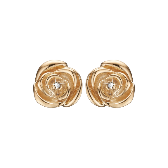 Roses Of Love Studs Gold with Gemstones