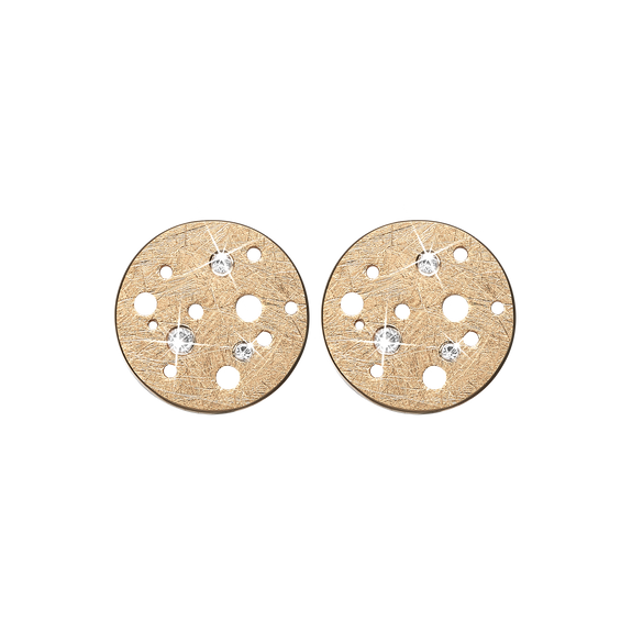 Moon Studs Gold with Gemstones