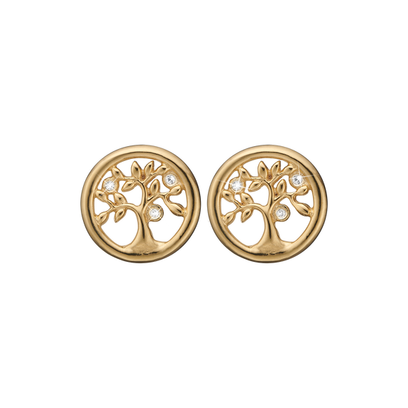 Tree Of Life Studs Gold with Gemstones
