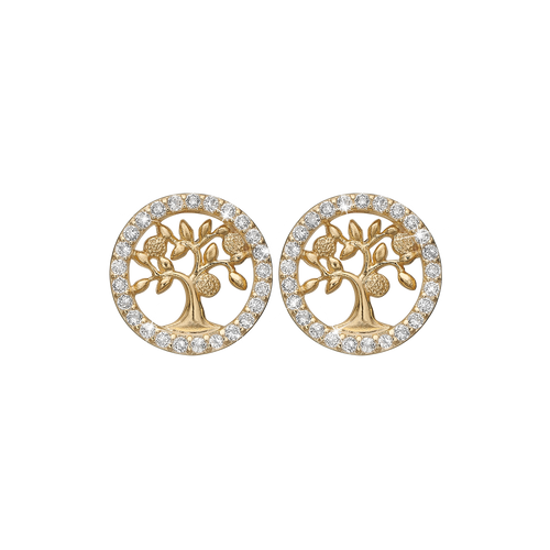 Sparkling Tree Of Life Studs Gold with Gemstones