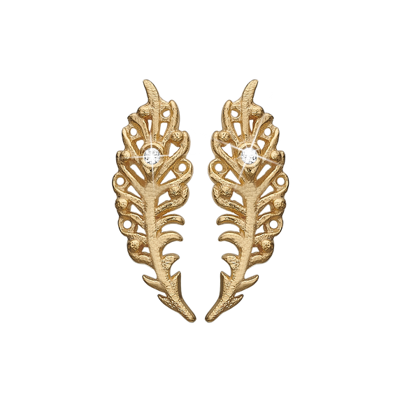Dancing Feathers Studs Gold with Gemstones