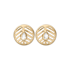 Load image into Gallery viewer, Open Leaf Studs Gold with Gemstones