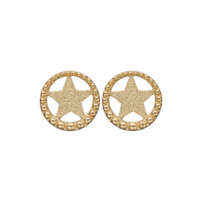 Load image into Gallery viewer, Star In A Circle Studs Gold