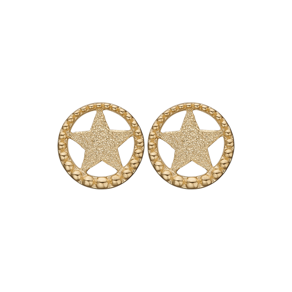 Star In A Circle Studs Gold