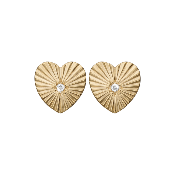 Sunshine Heart Studs Gold with Gemstones