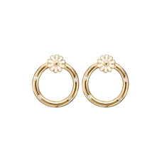 Load image into Gallery viewer, Marguerites Circle Studs Gold with Gemstones