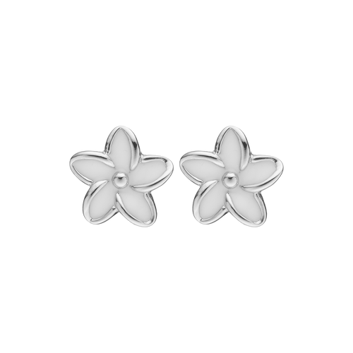 Flowers Studs Gold and White