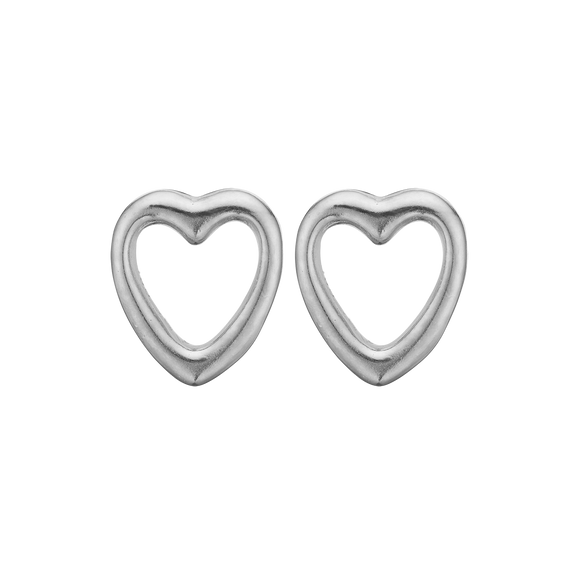Open Hearts Studs Silver