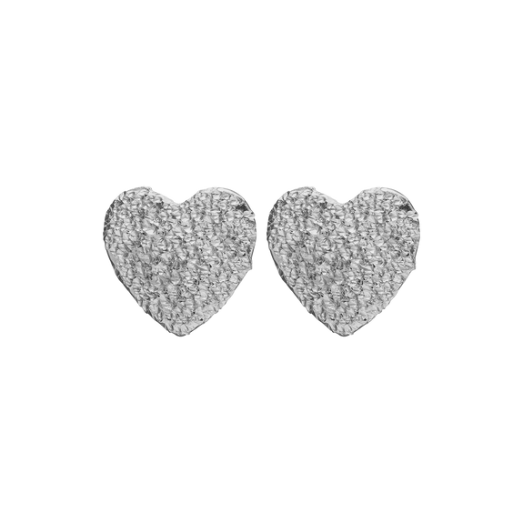 Sparkling Hearts Studs Silver