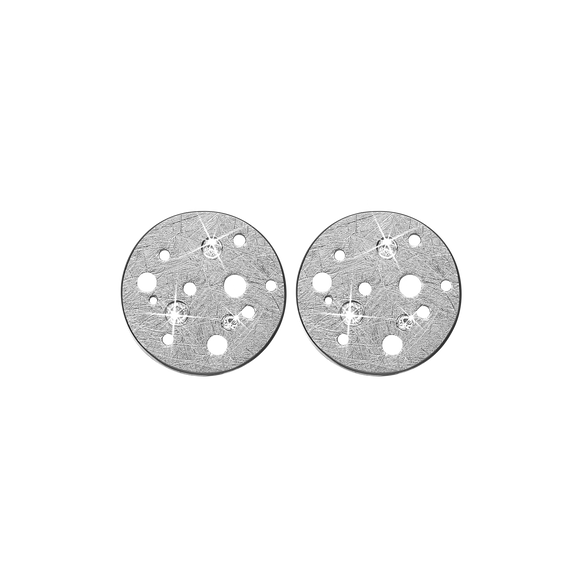 Moon Studs Silver with Gemstones