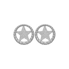 Load image into Gallery viewer, Star In A Circle Studs Silver
