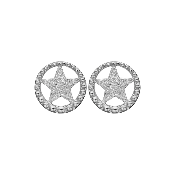 Star In A Circle Studs Silver
