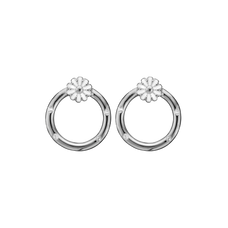 Load image into Gallery viewer, Marguerites Circle Studs Silver with Gemstones