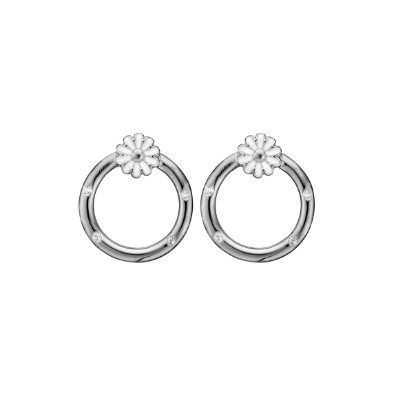 Marguerites Circle Studs Silver with Gemstones
