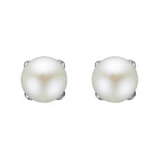 Load image into Gallery viewer, There is no other gemstones that says Girls Power as the Pearl.  The Pearl is found  in its  perfect spherical shape within the Oyster shell, it represents hidden knowledge, femininity, perfection and incorruptibility.  Your Pearl Stud Earrings are delicately handcrafted in 925 Sterling Silver and finished with an 18ct Gold or Rhodium Plating.