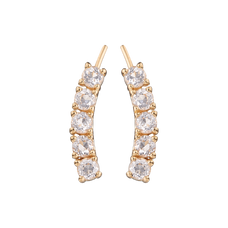 Load image into Gallery viewer, Floating Crystals Crawler Earrings Gold with Gemstones